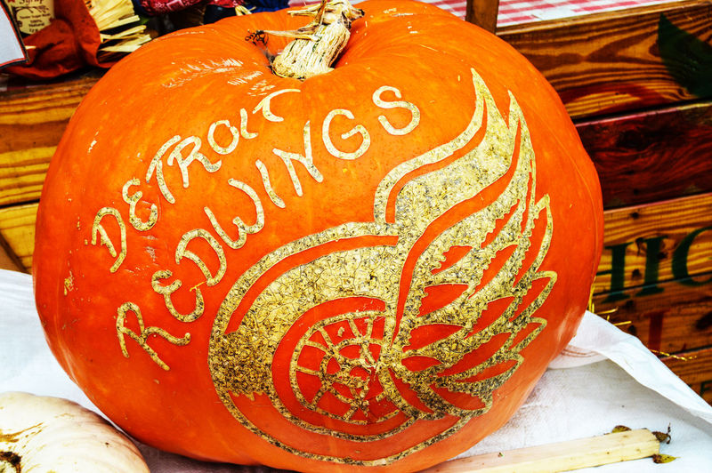 Detroit Redwings Franklin Cider Mill Art And Craft Celebration Close-up Communication Day For Sale Holloween Indoors  Jack O Lantern No People Text