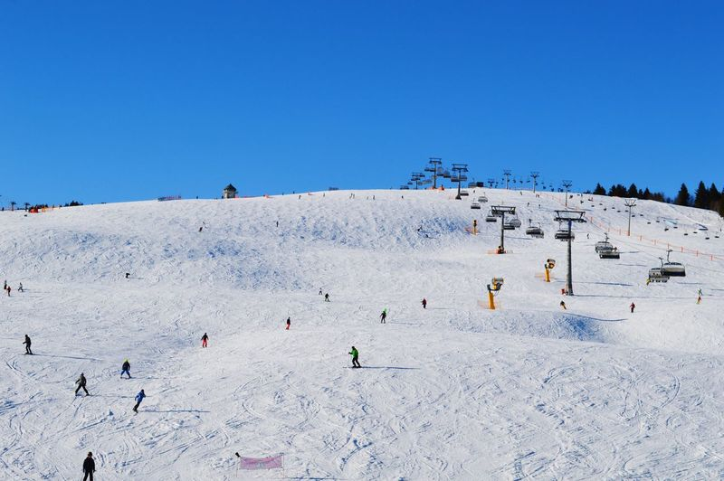 People Skiing On Snow Against Clear Blue Sky