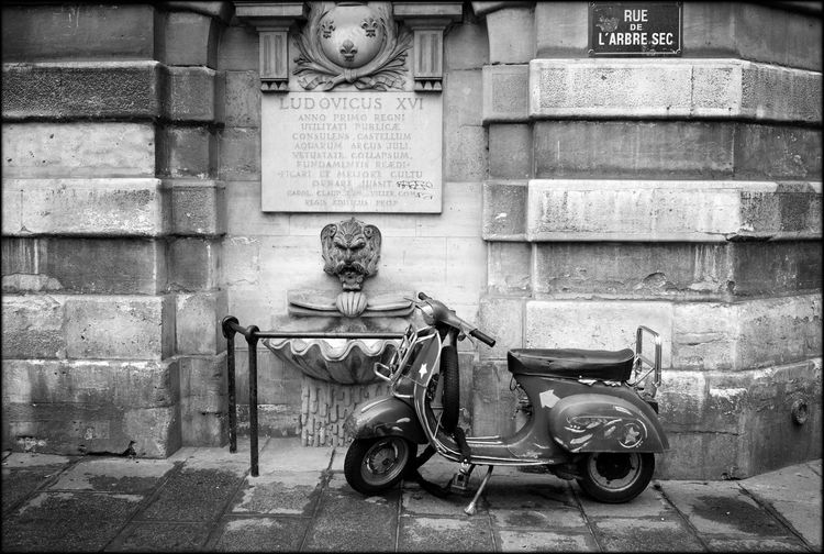 Leica M Photography Parisian Sidewa Scooter Street Photography Water Fountain