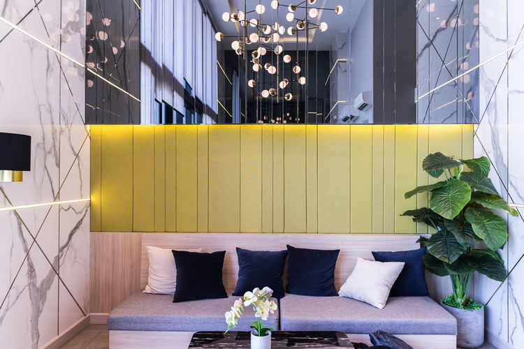 Living room, interior design on day light. modern living for rest place. Plant Indoors  Architecture Flower No People Potted Plant Flowering Plant Built Structure Sofa Nature Furniture Decoration Curtain Table Living Room Yellow Seat Day Home Interior Flower Arrangement Coffee Table