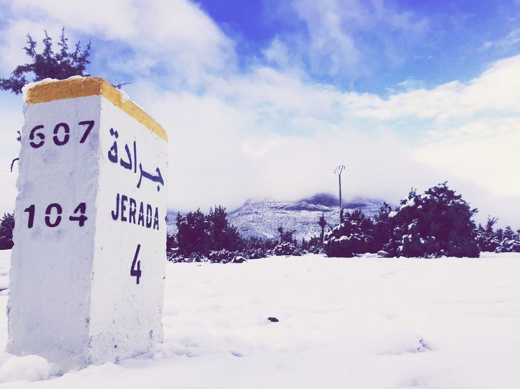 Snow Winter Cold Temperature Sky Text Communication Weather Outdoors Day Nature Landscape Scenics Cloud - Sky Beauty In Nature Mountain Tree Road Sign No People Colour Your Horizn