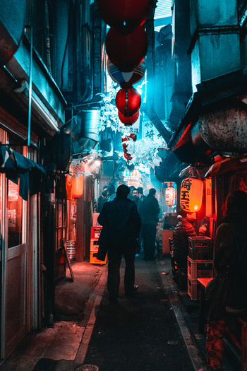 Piss Alley, Tokyo, Japan Beer Food Street Food Piss Alley Tokyo Japan Teal And Red Moody Street Photography Streetphotography EyeEmNewHere City Japan Chinese Lantern Illuminated City People Lantern Night Alley The Street Photographer - 2018 EyeEm Awards The Traveler - 2018 EyeEm Awards