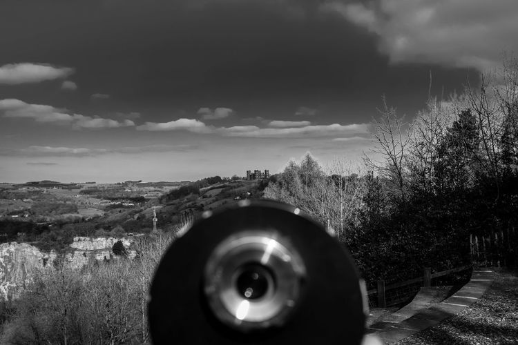 Beauty In Nature Black & White Black And White Coin Operated Monoculars Day Dramatic Sky Field Focus On Distance Landscape Light And Shade Light And Shadow Looking Into The Distance Monochrome Nature No People Old-fashioned Outdoors Riber Castle Sky TCPM Telescope Tree