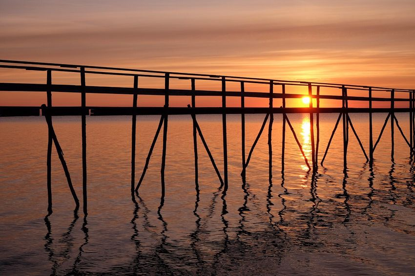 Orange Color Sunrise Sunset Water Reflection Tranquility Tranquil Scene Water_collection Built Structure Silhouette Pier Calm Peace Gentle Placid  Restful Canada Serene Tranquility Reflection Horizon Over Water Serenity