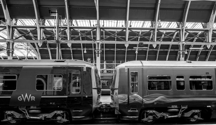 Contrasting Great Western liveries, Paddington Station, London Architecture Monochrome FUJIFILM X-T10 London Black And White Paddington Trains Great Western Railway