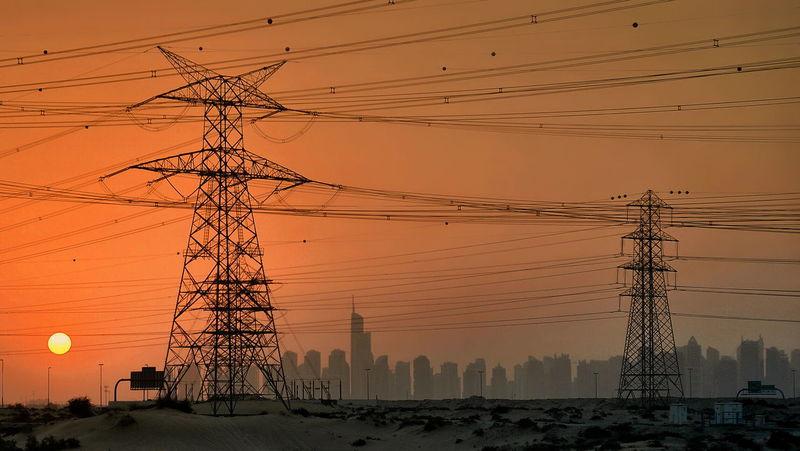 orange Sunset #sun #clouds #skylovers #sky #nature #beautifulinnature #naturalbeauty #photography #landscape Power Lines Dubai Cityscapes