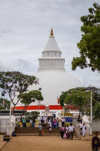 Ruwanwelisaya Stupa or Maha Thupa, Sri Lanka Architecture Buddhism Maha Mahathupa Outdoors People Religion Ruwanwelisaya Sri Lanka Sri Lankan Stupa Stupas Temple Thupa Unesco UNESCO World Heritage Site White