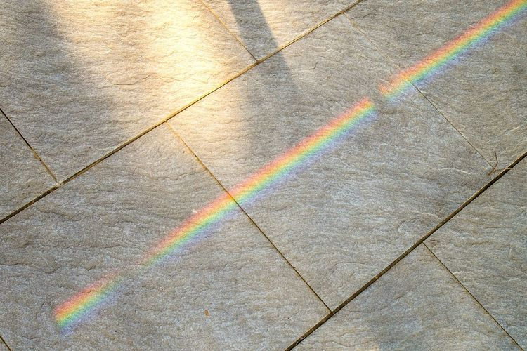 High angle view of rainbow on footpath