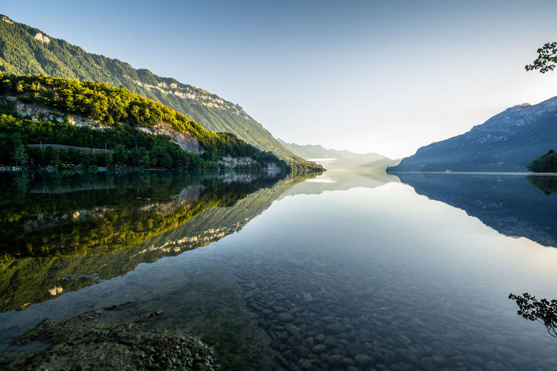 Water Reflection Sky Lake Nature Morning Light Morning Lake Of Brienz Brienzersee Mountain Clear Sky Outdoors Green
