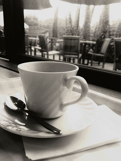Tea Cup Coffee Relaxing Holiday POV Monochrome