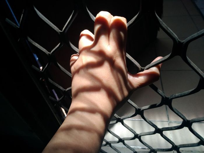 Close-up of woman hand on fence