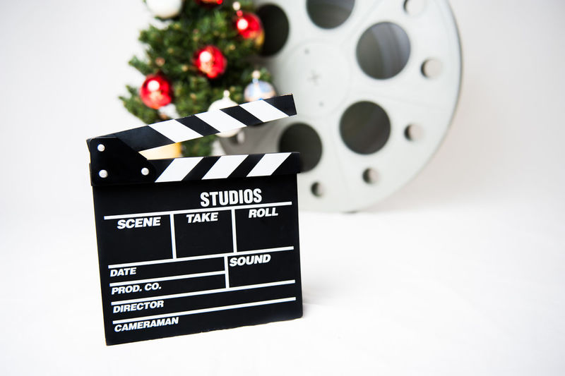 Christmas movie symbol Christmas Christmas Tree Cinema Clapper Clapperboard Film Holidays MOVIE No People Red Reel Symbol Winter