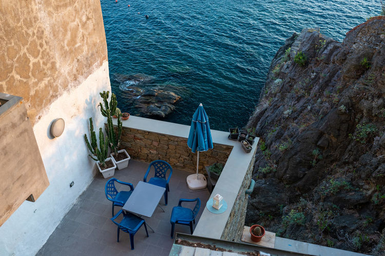 High angle view of table by sea