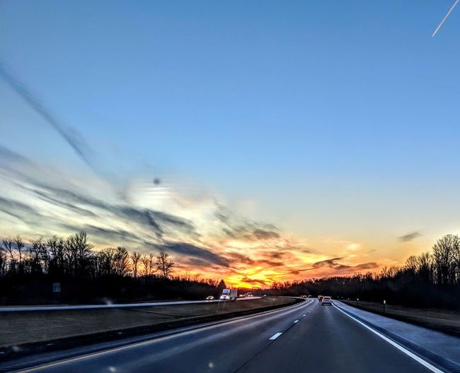 Fire in the sky Speed Landscape Car Point Of View Asphalt vanishing point Roadways Windshield The Great Outdoors - 2019 EyeEm Awards