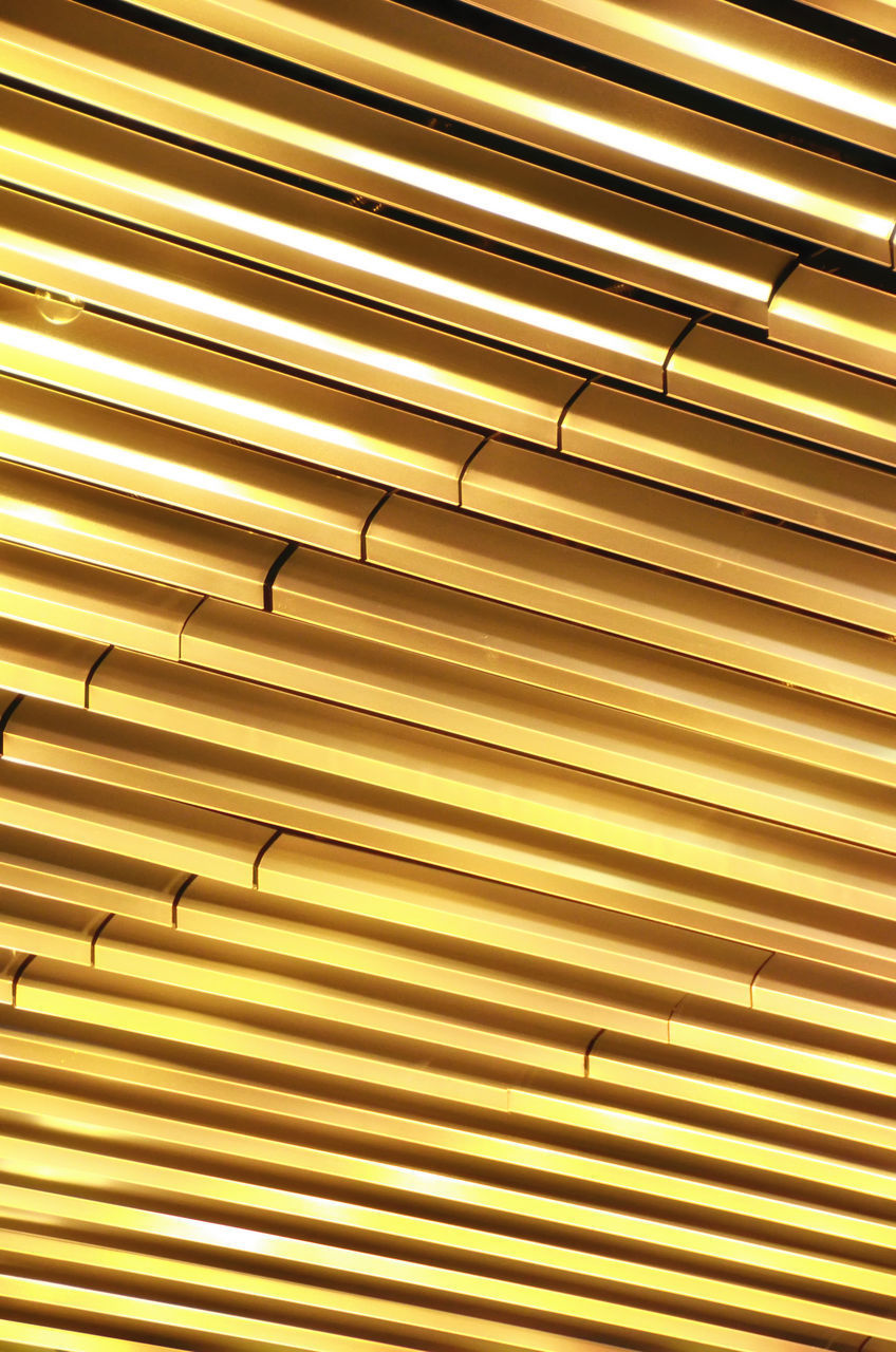 yellow, striped, backgrounds, pattern, no people, gold colored, indoors, close-up, day