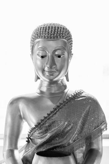 Black And White Buddha Statue Religion ASIA Asian  Faith Indoors  Human Representation Representation Buddhist