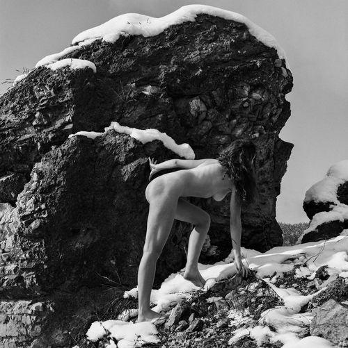 Full length of woman on rock