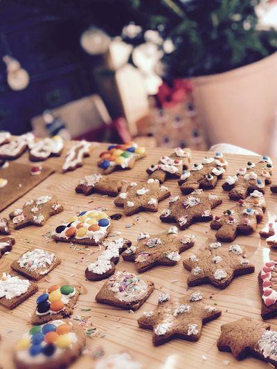Homemade Christmastime Cookies Gingerbread Cookie Celebration Sweet Food Baked Indoors  Sweet Still Life Table Christmas Food
