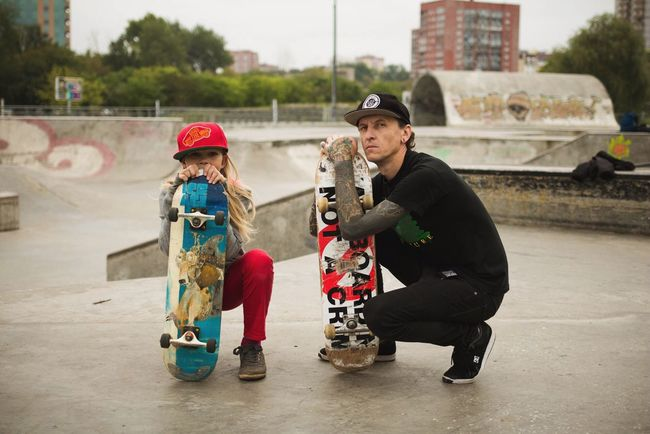 Fatherhood Moments like father like daughter Father And Daughter Family Family❤ Lifestyles Riding Outdoors Skateboarding Skate Skateboard Tattoo Tattoos Leisure Activity The Color Of Sport TakeoverContrast Tattoo Life