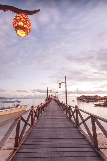 View Of Pier On Sea At Dawn On Mabul Island Malaysia