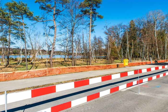 Blue Clear Sky Construction Construction Site Intense Colors Lake No People Outdoors Railing Road Street Tree
