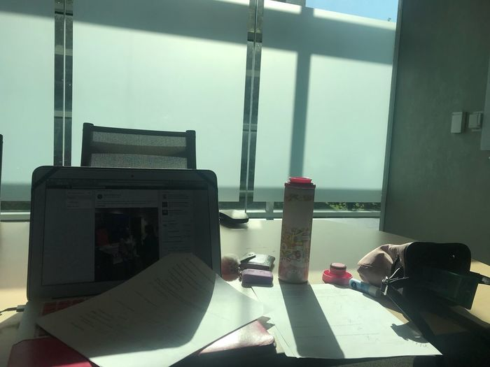"""""""Face to the sunshine and you can never see the shadow."""" Examdayssss Nonfiltered Indoors  Window Table No People Day Nature Absence"""