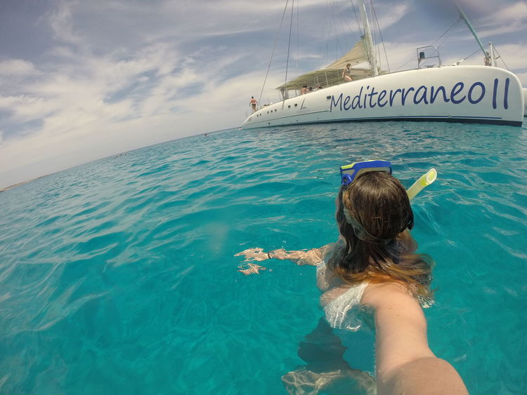 Blue Catamaran Day Leisure Activity Lifestyles Nature Outdoors Rippled Sea Snorkel Snorkelling Water