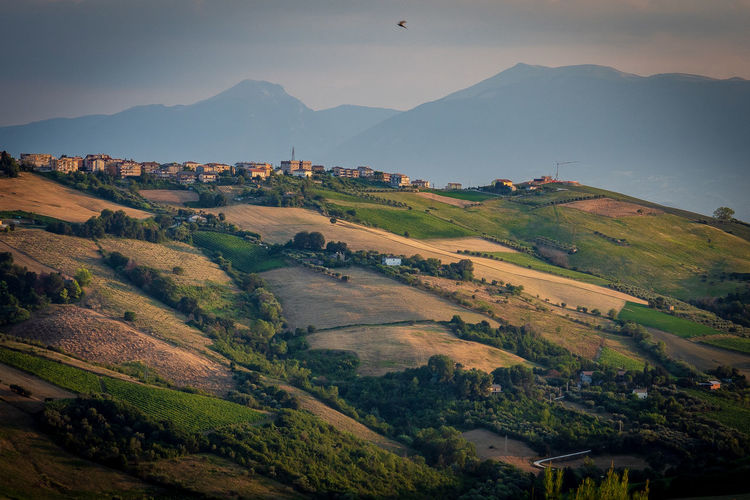 Scenic view of ripartisone in marche with appennini mountains