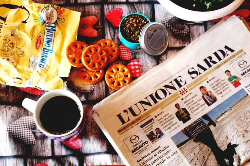Unionesarda Breakfast News Giornale Lettura Colazione Tea Biscotti Sardegna Food And Drink Drink Table High Angle View No People Refreshment Freshness Indoors  Day Food Newspaper Ready-to-eat