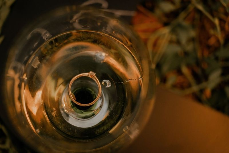 High angle view of wine glass