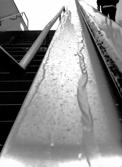 Close-up of wet railroad tracks