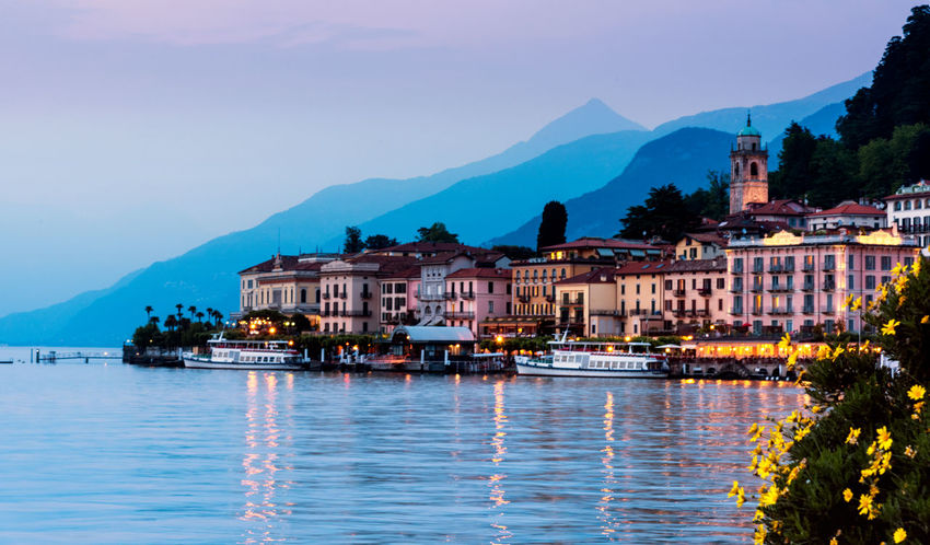 Bellagio, Italy Architecture Beauty In Nature Building Exterior Built Structure Clear Sky Day House Illuminated Mountain Mountain Range Nature Nautical Vessel No People Outdoors River Scenics Sky Tranquility Transportation Travel Destinations Tree Water Waterfront