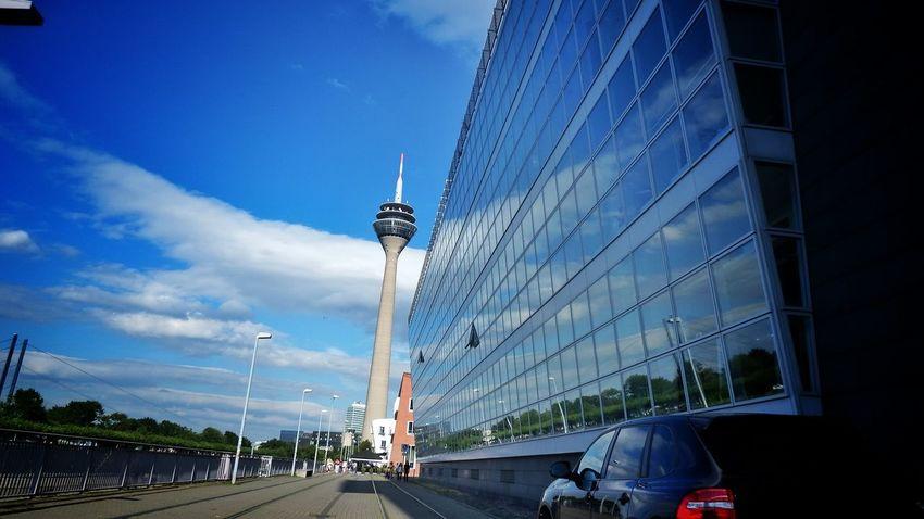 Fernsehturm Düsseldorf Architecture_collection Achitecture Reflections Eye4photography  Fujifilm Finepix SL1000 Buildinds Nice Day Düsseldorf, Medienhafen Sunshine