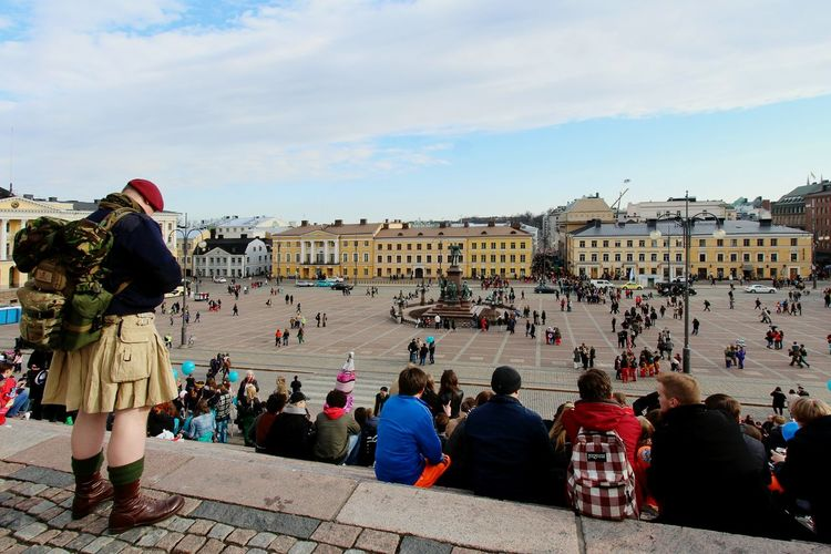 The Tourist Tourist Tourism City Life Cityscapes City View  Streetphotography Street Life City Center Senatesquare Senaatintori Helsinki Mayday  Vappu Crowd People Watching People Sitting Orginal Experiences