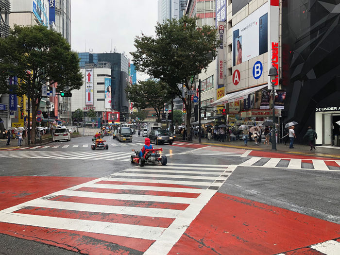 Why? Mario Cart Shibuyacrossing Shibuya Crossing Road Marking Transportation Crosswalk Zebra Crossing Motor Vehicle