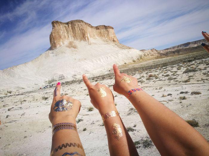 Лучшие выходные в Плато Устюрт EyeEm Selects Human Hand Sand Dune Low Section Beach Sand Desert Mountain Women Personal Perspective Sky