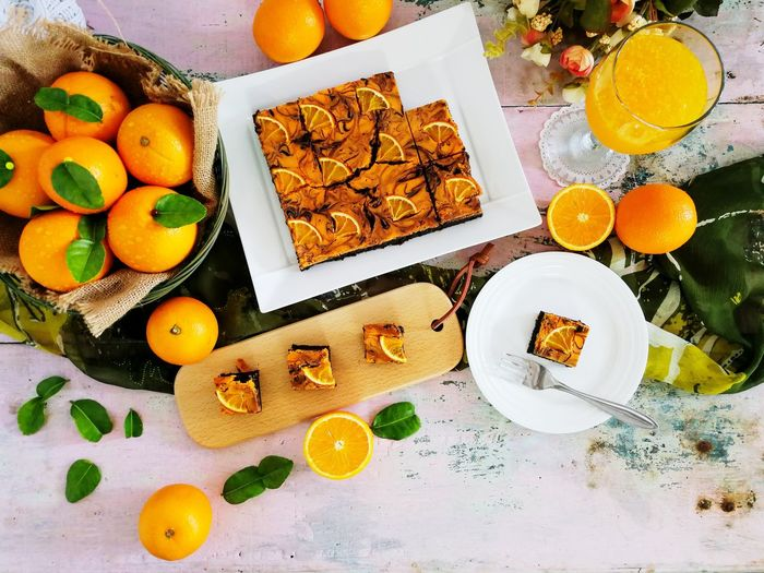 Orangebrownies Brownies Orange Fruits Desserts Phone Photography Teatime Foodphotograpy Foodstyling Cake Fruit Citrus Fruit Variation High Angle View Apricot Orange - Fruit Close-up Sweet Food Food And Drink