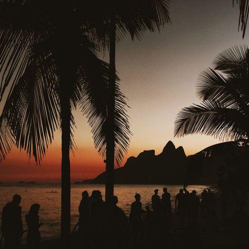 Sunset Sunset_collection Sunset Silhouettes Ipanema Ipanema Beach Rio De Janeiro Silhouette Vscocam VSCO Brazil