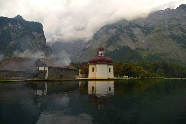 St. Bartholomae on cloudy day Alps Bad Reichenhall Bavaria Church Clouds Germany Königssee Lake Mountain Mountains St Bartholomae Summit