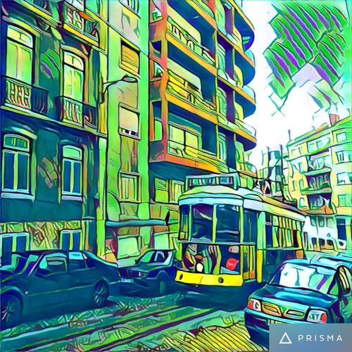 Anjos - Lisboa Architecture Built Structure Building Exterior Transportation Land Vehicle Car City Mode Of Transport Road Multi Colored City Life Balcony Vibrant Color Green Color Outdoors Day Sky Building Story Apartment Colorful Prisma App