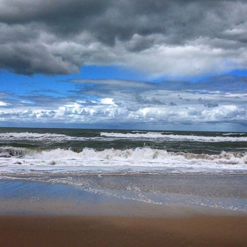 Mar Villa Gesell Beach Cloud - Sky Sea Sky Land Water Beach Scenics - Nature Nature Horizon Horizon Over Water Environment Tranquil Scene No People Outdoors Tranquility