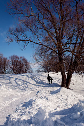 Man with dog on snow covered field