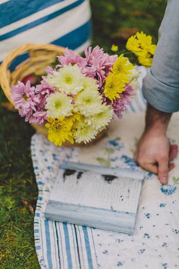 Cropped Hand Of Man By Book And Flowers On Picnic Blanket