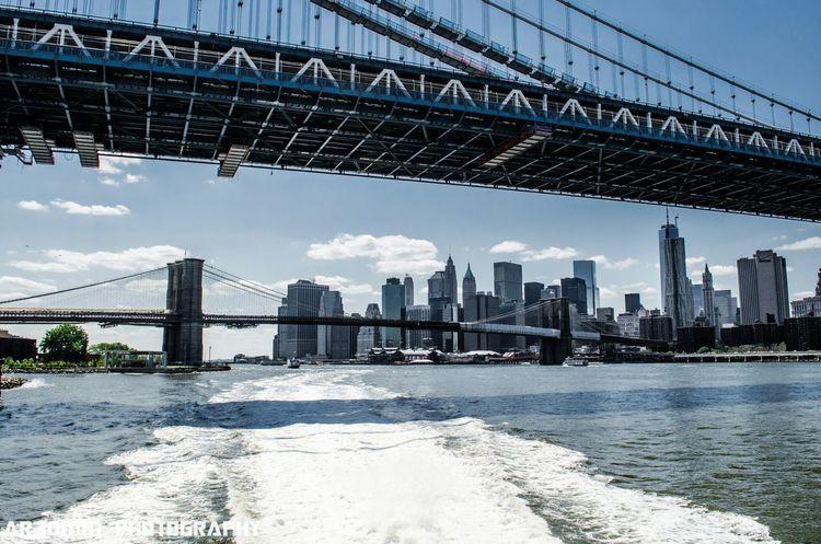 """""""Down Under the Manhattan Bridge"""" Manhattan Bridge Skyline NYC New York City"""