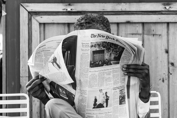 Adult Black And White Black And White Photography Close-up Communication EyeEmNewHere Journalism Men Newspaper NYC One Man Only One Person Outdoors People Reading Newspaper Street Street Photography Streetphotography Text The New York Times United States Welcome To Black The Street Photographer The Street Photographer - 2017 EyeEm Awards Live For The Story
