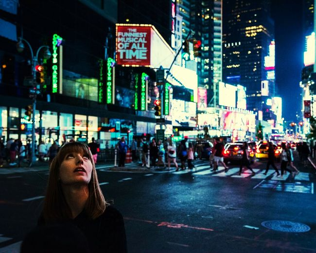 Mind Blown - Times Square NYC New York City Times Square Street Photography Strangers Woman Girl Candid Photography Night City Metropolis People Urban Landscape Showcase June Fine Art Photography Portrait Portrait Of A Woman