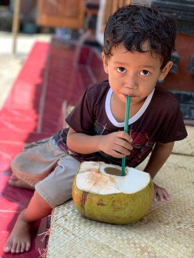 Portrait of boy drinking coconut water