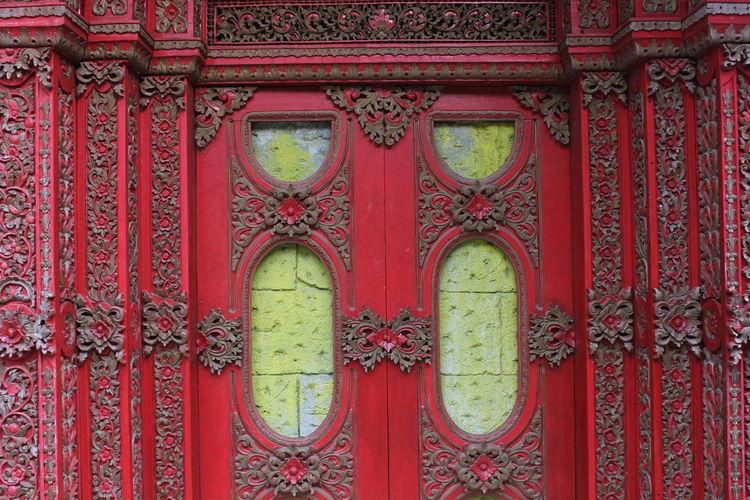 Full frame shot of closed door of temple