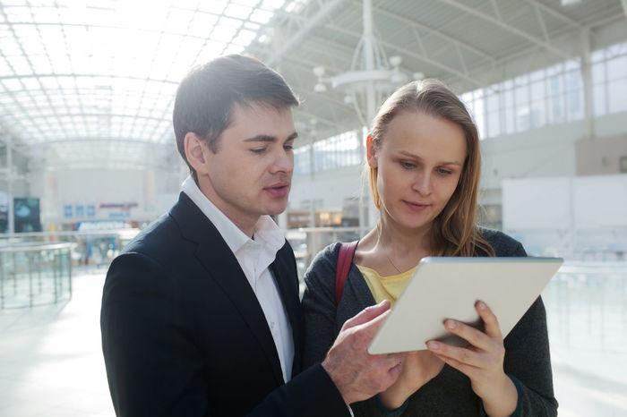 Business Businessman Caucasian Couple Deal Horizontal Job Look Man PC People Point Secretary Tablet Talk Touchscreen Watch Wireless Woman Work