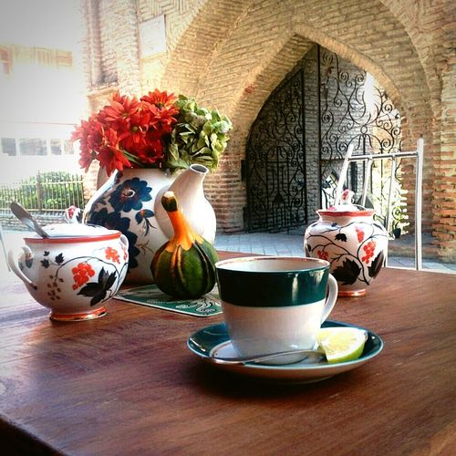 Table Flower No People Tbilisi Mobile Photography Streetphotography Food And Drink Old Architecture Asian Style Tea Time Chinaware Vintage Floral Pattern